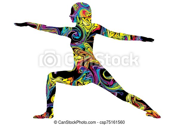 Colorful silhouette of a woman in yoga posture - csp75161560