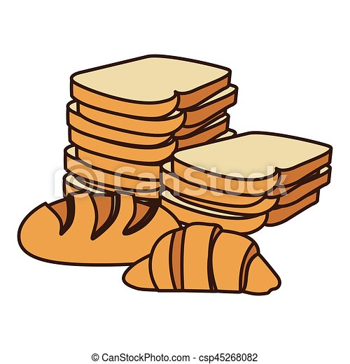 colorful silhouette stack slices bread and croissant vector rh canstockphoto com bread slice clipart