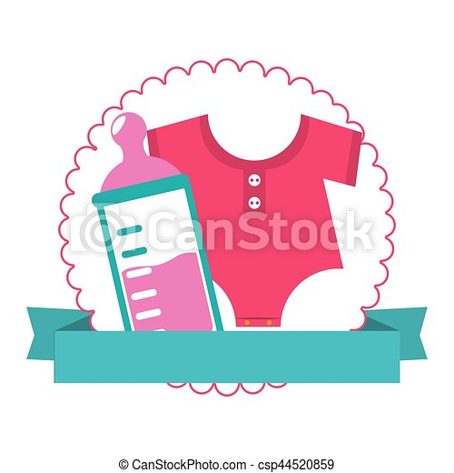 Colorful Silhouette With Baby Bottle And Baby Clothes In Circle With