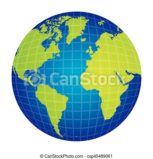 Colorful Silhouette With World Map View Front Side Vector Illustration