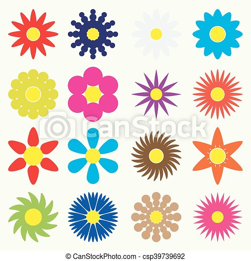 colorful simple retro small flowers set of symbol eps10 - csp39739692