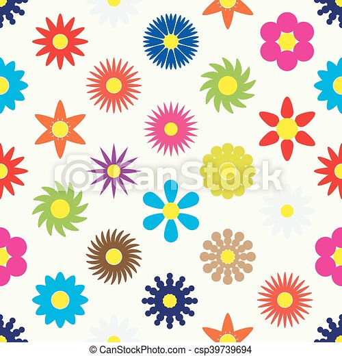 colorful simple retro small flowers set seamless pattern eps10 - csp39739694