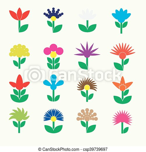 colorful simple retro small flowers set of icons eps10 - csp39739697