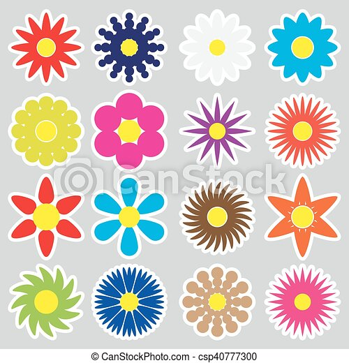 colorful simple retro small flowers set of stickers eps10 - csp40777300