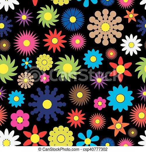 colorful simple retro small flowers seamless dark pattern eps10 - csp40777302