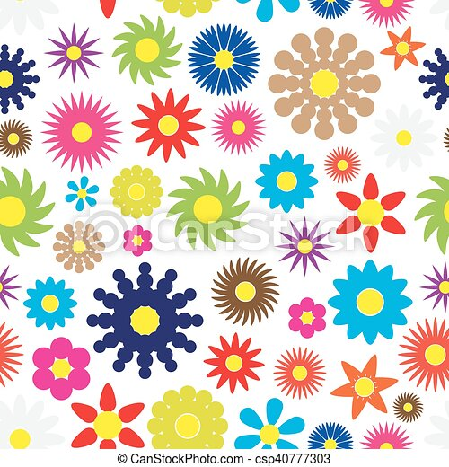 colorful simple retro small flowers seamless white pattern eps10 - csp40777303