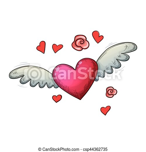 Colorful Sketch Heart With Wings Colorful Sketch Style Illustration