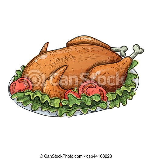 colorful sketch of turkey colorful sketch style cartoon