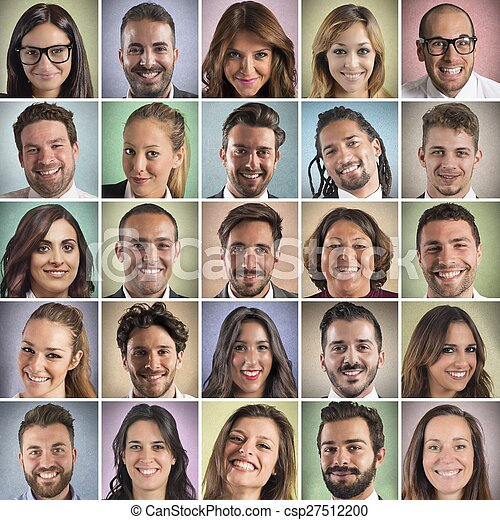 Colorful  smiling faces collage - csp27512200