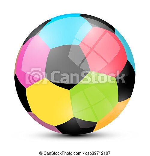 Colorful Soccer Football Ball Isolated on White Background Vector - csp39712107