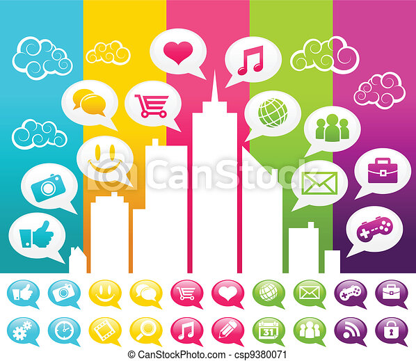 Colorful Social Media City - csp9380071