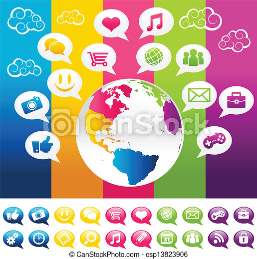 Colorful Social Media Planet Earth  - csp13823906