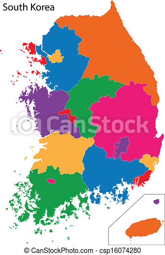 Colorful South Korea Map Map Of Administrative Divisions Of - South korea map vector