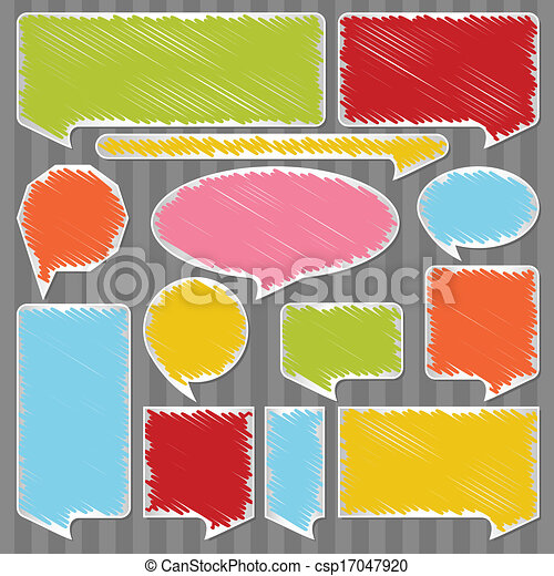 Colorful speech bubbles and balloons vector - csp17047920