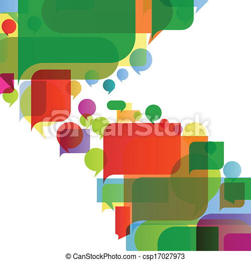 Colorful speech bubbles and balloons cloud illustration background vector - csp17027973