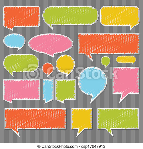 Colorful speech bubbles and balloons vector - csp17047913