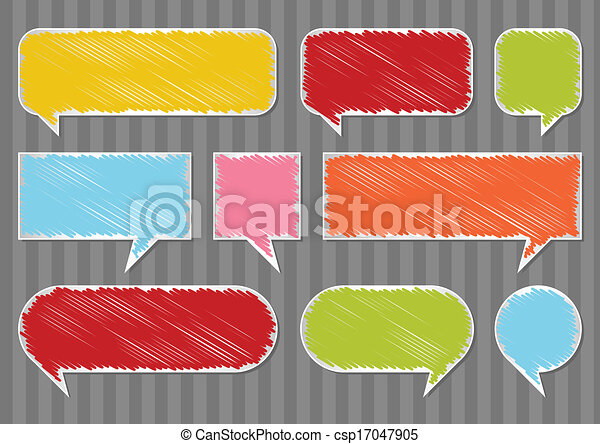 Colorful speech bubbles and balloons vector - csp17047905
