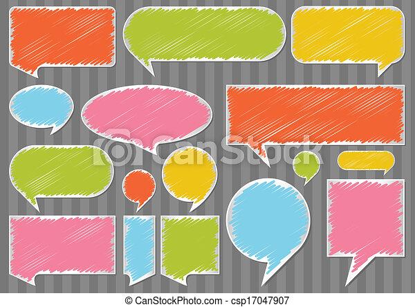 Colorful speech bubbles and balloons vector - csp17047907