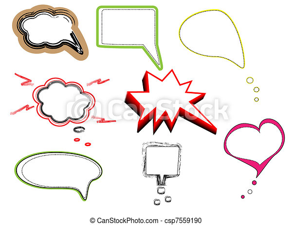 Colorful speech bubbles and dialog  - csp7559190