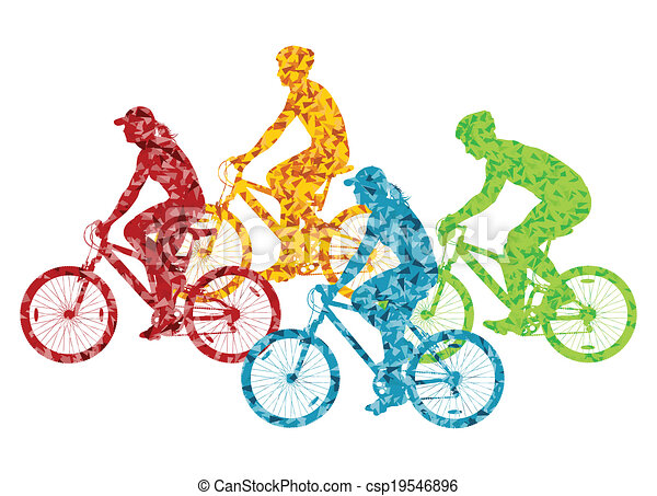 Colorful sport road bike rider bicycle silhouette background illustration vector concept - csp19546896