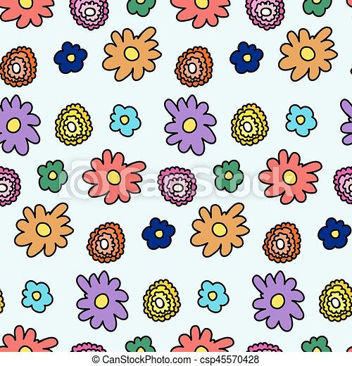 Colorful spring flower pattern - csp45570428