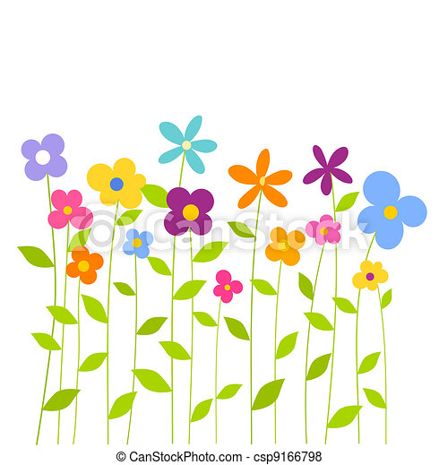 Colorful spring flowers cheerful fantasy spring flowers vector colorful spring flowers csp9166798 mightylinksfo Gallery