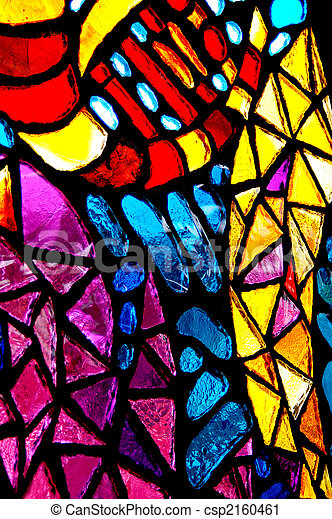 Colorful stained glass abstract. - csp2160461