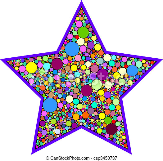 colorful star with dot pattern rh canstockphoto com colorful stars clipart free Star Clip Art Bright Colorful