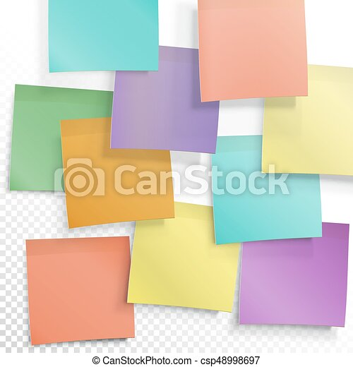 photograph regarding Editable Post It Note Template identify Vibrant sticky notes. Active thought case in point. Vector editable template upon clear record.