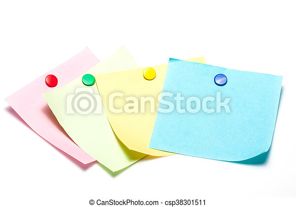 Colorful sticky notes with pushpin - csp38301511