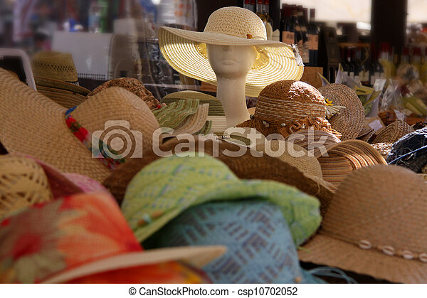 Colorful Straw hats at a market stall in Verona - csp10702052