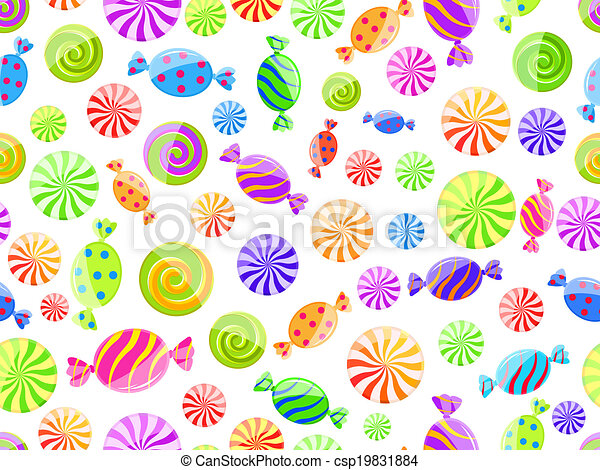 colorful striped candy seamless pattern - csp19831884