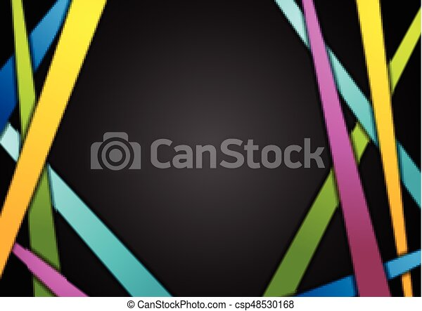 Colorful stripes on black abstract background - csp48530168
