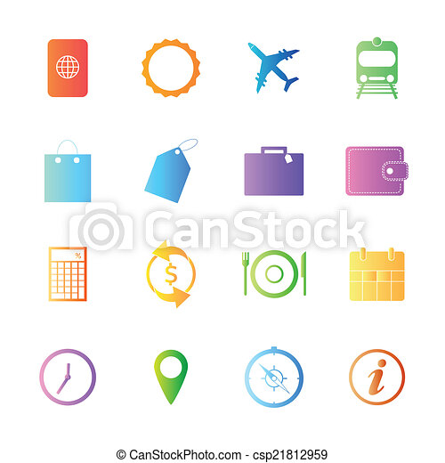 Colorful style Travel Icons vector set. - csp21812959