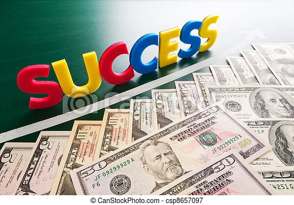 Colorful success words and growing US dollars  - csp8657097