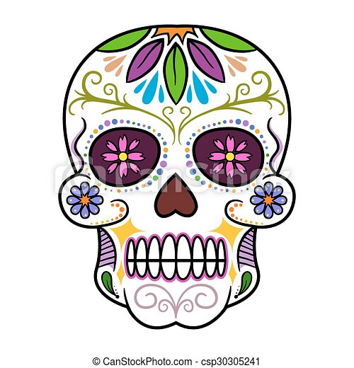 colorful sugar skull traditional colorful sugar skull art vector