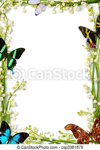 Colorful summer frame with butterflies. Lilies of the valley frames ...