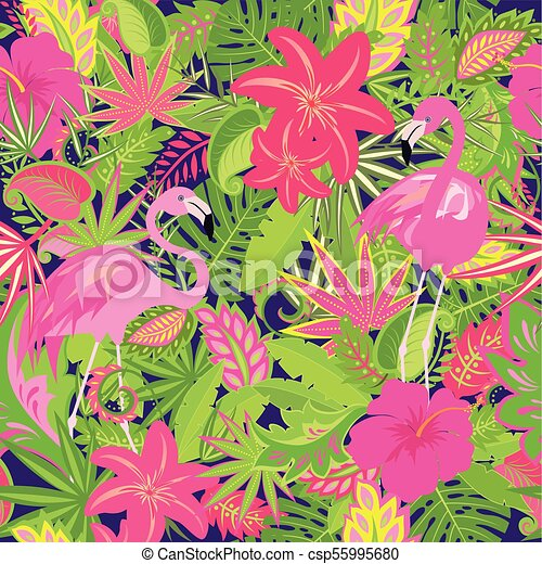 Colorful summery wallpaper with exotic flowers tropical leaves and colorful summery wallpaper with exotic flowers tropical leaves and pink flamingo for fabric textile mightylinksfo