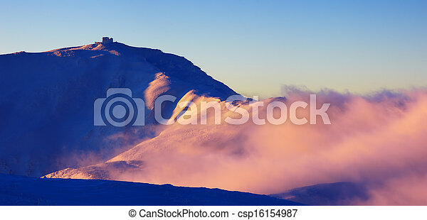 Colorful sunrise in the mountains - csp16154987