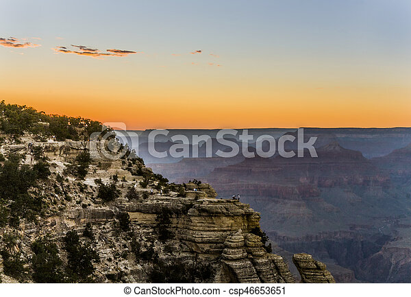Colorful Sunset at the Great Canyon seen from Maters Point - csp46653651