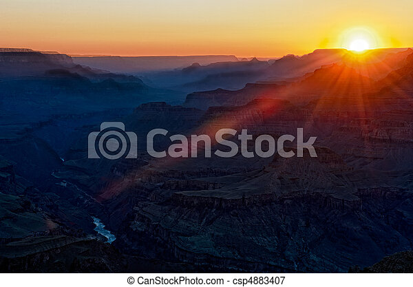Colorful sunset in Gran Canyon - csp4883407