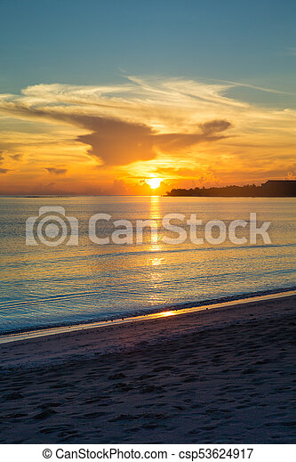 Colorful Sunset In The Beach - csp53624917