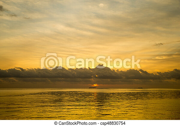 Colorful Sunset In The Beach - csp48830754