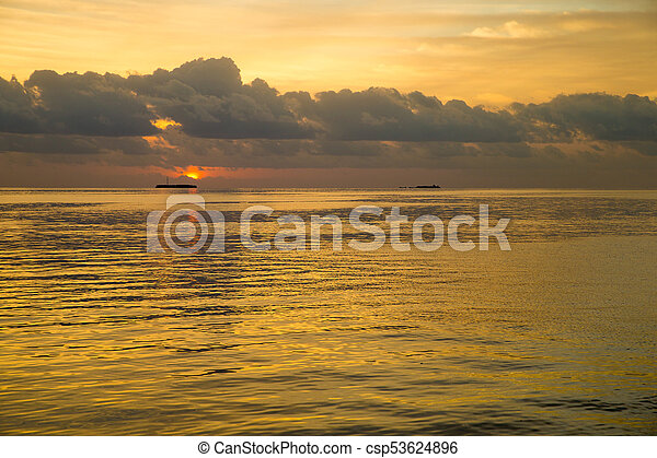 Colorful Sunset In The Beach - csp53624896