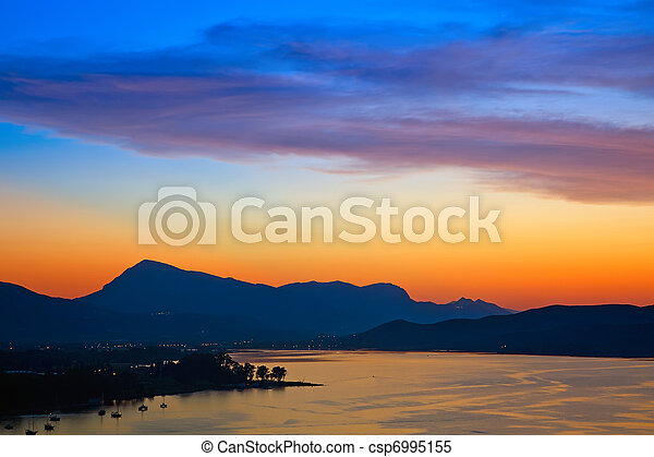 Colorful sunset over Aegean sea - csp6995155