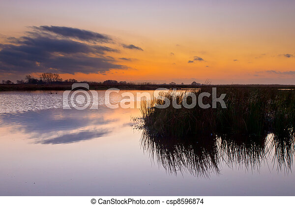 Colorful sunset over wetland - csp8596874