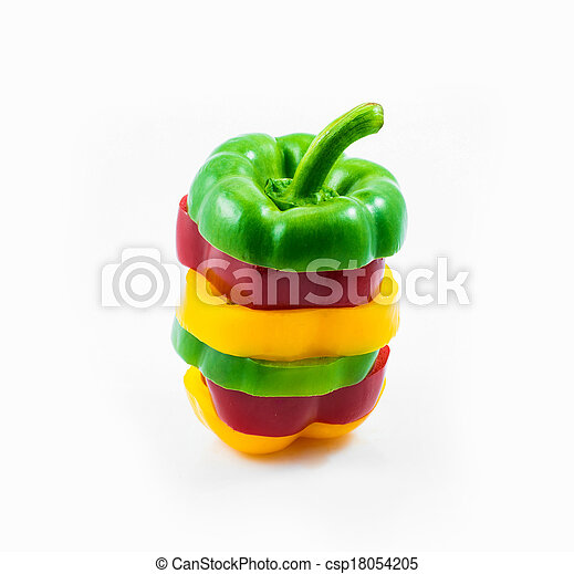 colorful sweet peppers sliced  - csp18054205