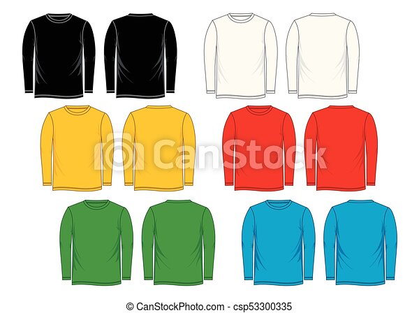 Colorful t-shirt template long-sleeve, front, back, isolated on a ...