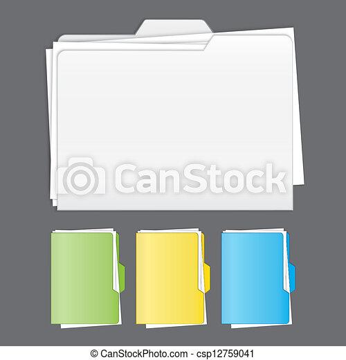 Colorful tabbed folder vector set - csp12759041