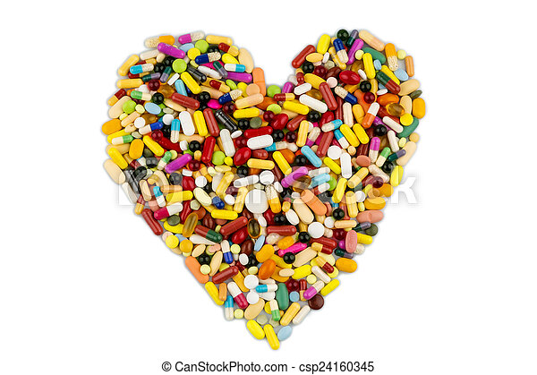 colorful tablets in heart shape - csp24160345